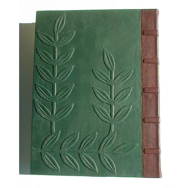 carved leather embossed leaves on La Plante botanical handbound art nouveau book, back cover