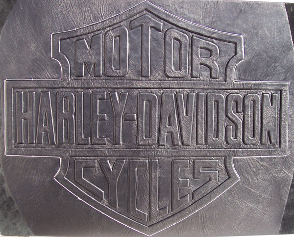 bar and shield harley davidson embossed leather logo with silver wire