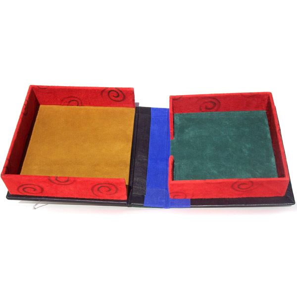 custom leather box with red suede leather swirl branded walls
