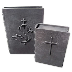 pair of black leather boxes with embossed cross and old english initial S