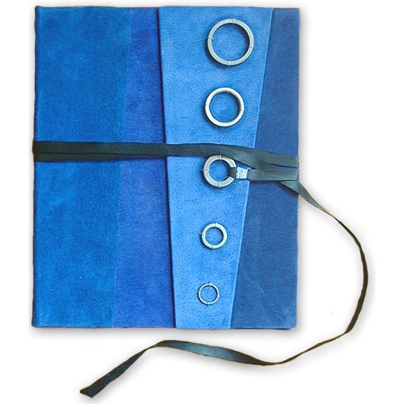 blue suede padfolio notebook cover with 5 steel rings and black leather lace as a closure