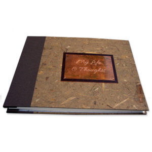 Copper engraved plate on brown fabric and handmade paper refillable screwpost book