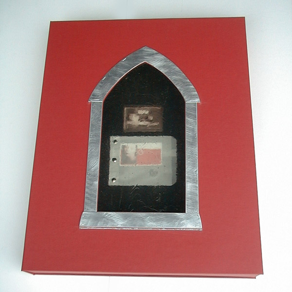 gothic window on clamshell presentation box for photographer