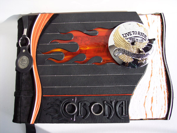 harley davidson stained glass flames leather scrapbook with embossed name Corona and motorcycle parts