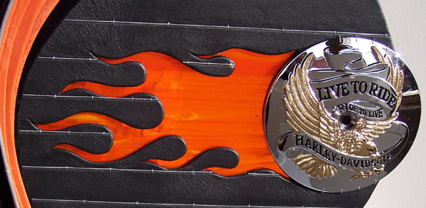 orange stained glass flames with chrome live to ride ride to live round Harley motorcycle logo