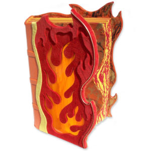 orange fire shaped stained glass window in sculpted handbound leather photo album with flame tipped cover edges