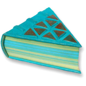 thick triangle shaped turquoise leather book with copper triangle mosaic on cover and turquoise and lime green pages