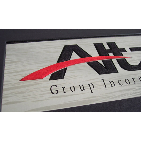 personalized metal business logo with red and black leather through Altz emblem letter cut outs