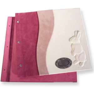 pink and white leather bunny rabbit baby photo album with etched metal plate