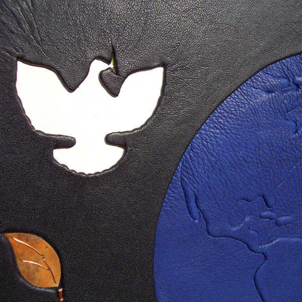 inset white leather dove on custom leather book cover