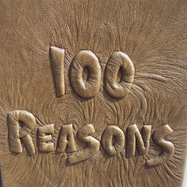100 Reasons carved and embossed lettering under brown leather on book cover