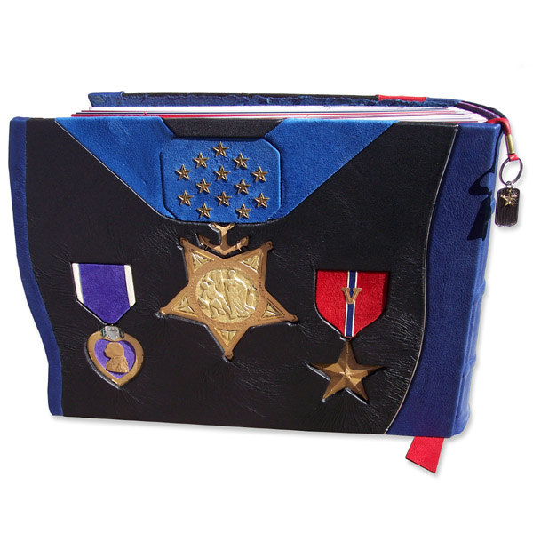 Military awards on custom leather book cover with Medal of Honor, Purple Heart, and Bronze Star