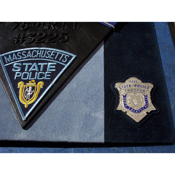Custom leather Police book detail with State Trooper Badge and State Police patch