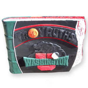 Washington University Bear logo, basketball on leather book cover with embossed name Troy Ruths
