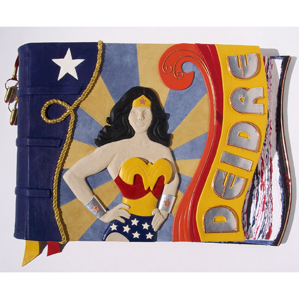 Wonder Woman Art on Super Hero custom leather book with Lynda Carter sculpture, Rope of Truth, Bullet bookmarks, and silver name Deidre