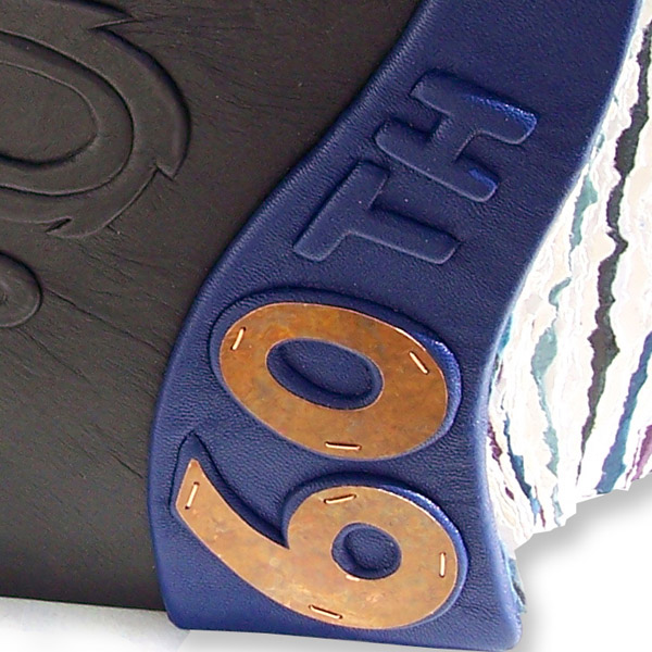 60th birthday gift, copper 60th on blue leather embossed scrapbook edge