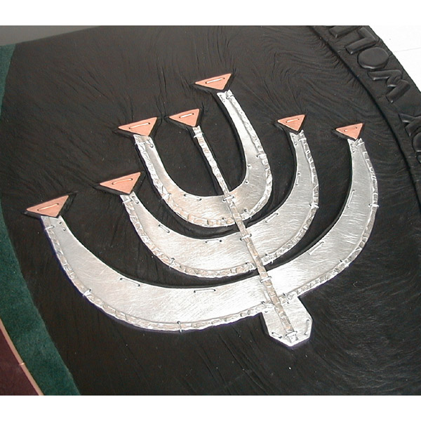 Menroah on custom leather book cover, silver and copper modern Menorah design