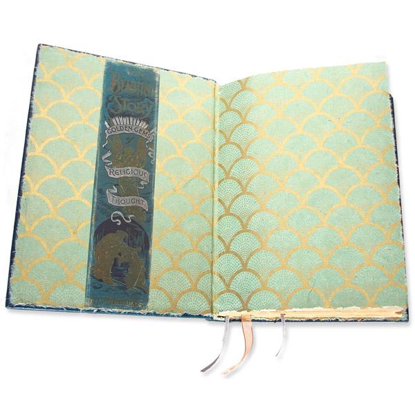 classic gold metallic patterned handmade paper endsheets, original 1887 book spine artwork banner in restored book