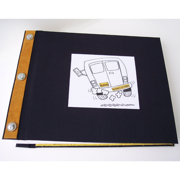 black fabric screwpost book with window for artwork on cover