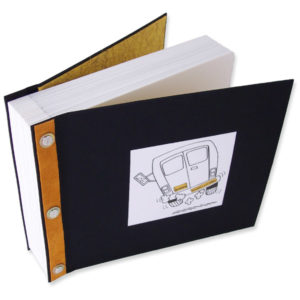 Refillable Screwpost Scrapbook with printed bus in photo window, black fabric, gold leather spine accent