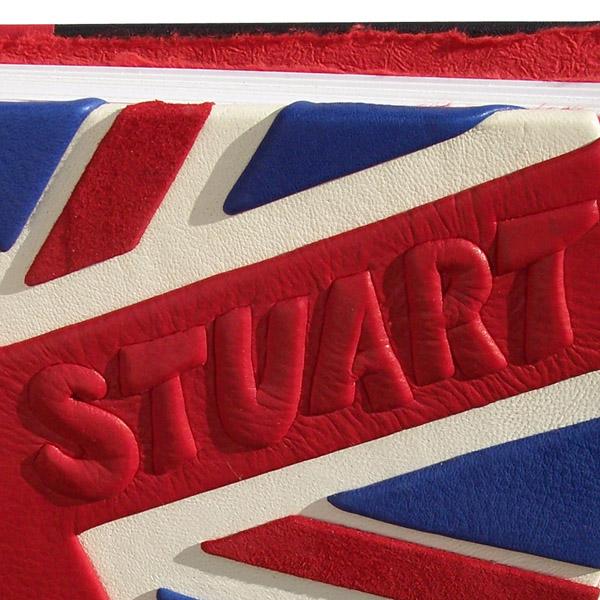 carved embossed name Stuart on leather Union Jack flag photo album