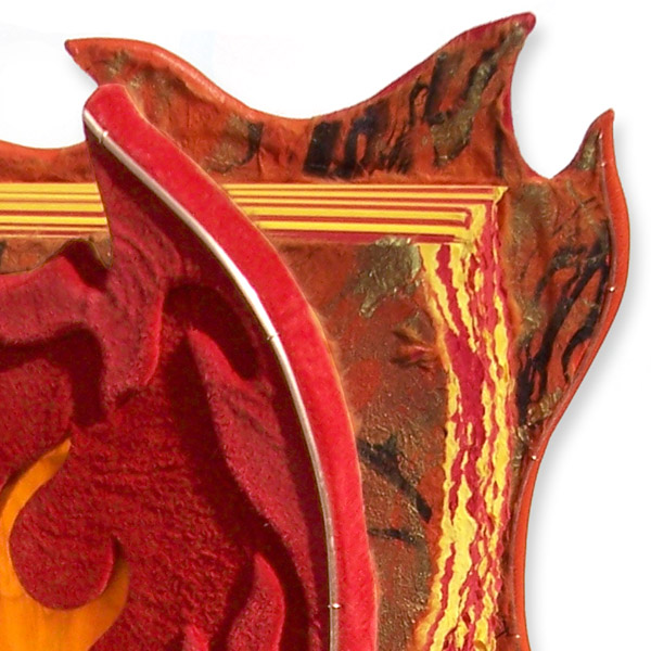 Flame tip shaped leather book covers with red suede leather