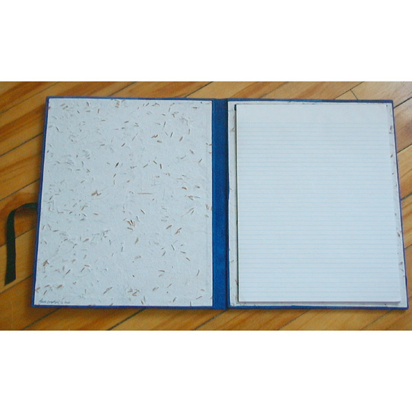 leather padfolio interior with lined paper pad ans handmade oat paper lining