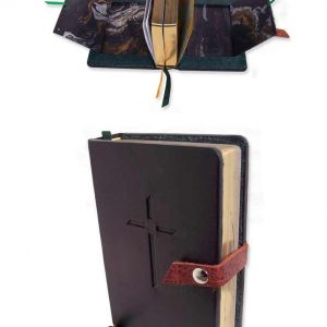 black leather military BIble with Snapped belt closure and hidden compartments for photographs