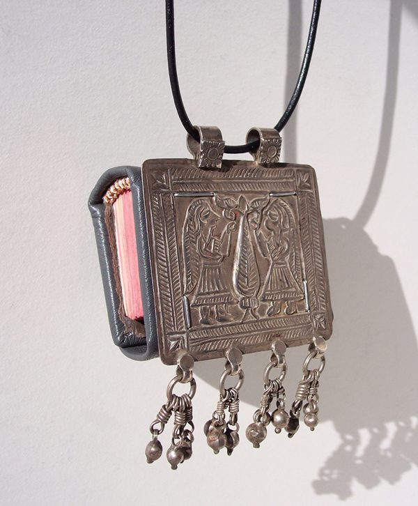 Custom Leather Mini Necklace Book Front