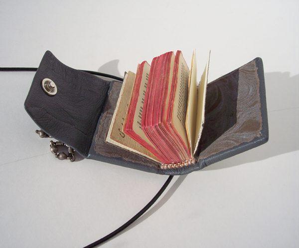 Custom Leather Mini Necklace Book Open