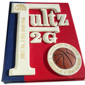 NBA Custom Branded Leather Expandable Book with Basketball, NBA logo, award, and name