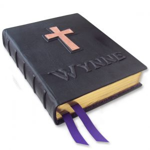 Personalized Leather Family Bible with Copper Cross and Carved Name