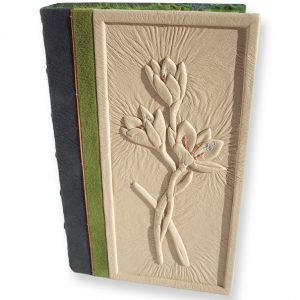 Refurbished Custom Leather Botanical Book with Carved and Embossed Flowers