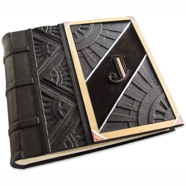 ART DECO Custom Leather Wedding Album with Initial