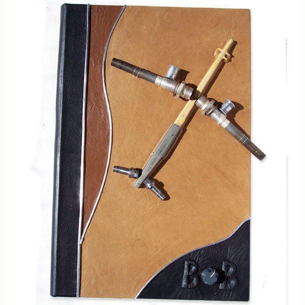 Custom Leather Aviation Portfolio Folder with Pilot Name and Airplane Parts