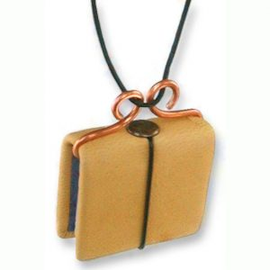 Miniature Refillable Gold Leather Necklace Book on Cord
