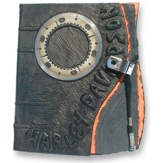 Carved and Embossed Harley Davidson Leather Scrapbook Album with Clutch Plate and Motorcycle Parts