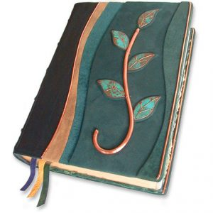 Copper Vine Bible Patina Leaves and Wire Edging