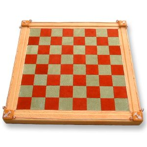 Custom Leather Game Board for Chess or Checkers with Copper Fleur de Lis