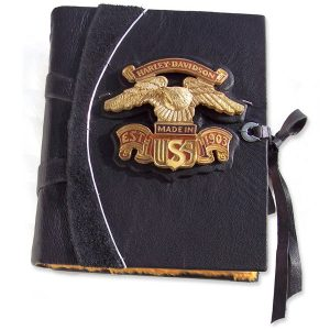 Custom Leather Harley Davidson Journal with Motorcycle Gas Tank Logo