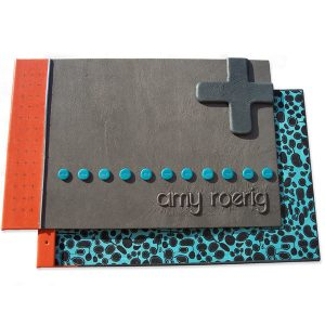 Custom Leather Refillable Art Portfolio with 3-D Name and Screwposts