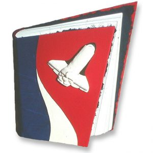 Red, White, and Blue Leather Space Shuttle Book for Astronaut in angled shape