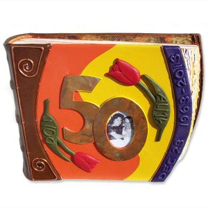 Custom Leather Tulip 50th Anniversary Album with Copper Photo Frame