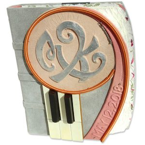 Custom Leather Wedding Album with Piano Keys and Wire, Metal Initials, Date