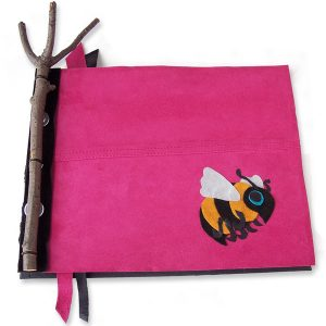 Custom Pink Leather Bumble Bee Journal with Twig