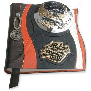 Customized Harley Davidson Wedding Album with Motorcycle Emblems and Keychain