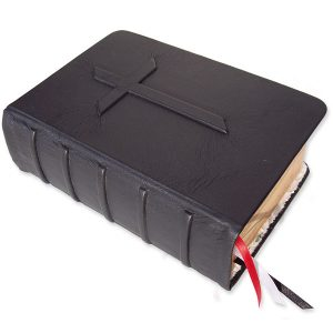 Embossed Black Leather Bible with Pointed Raised Cross and Spine Cords