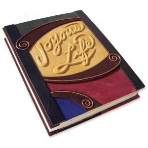 Expandable Refillable Leather Scrapbook with Custom Carved Embossed Lettering