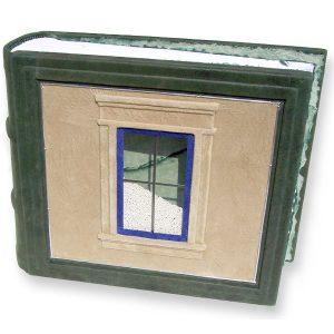 Glass Window with Ceramic Snow Beads in Leather Scrapbook Album