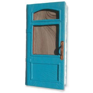 Handmade Leather Door Guestbook with Stained Glass Windows and Copper Handle